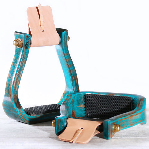 "Nettles Stirrups The Barrel Racer 2"" Distressed Turquoise"