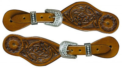 Showman Youth Floral Rhinestone Buckle Spur Straps