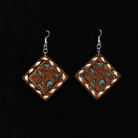 Brown and Turquoise Tool Square Leather Earrings