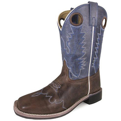 Kid's Brown Blue Top Square Toe Boots