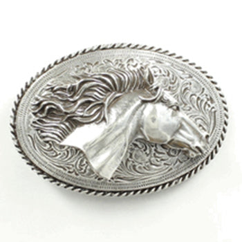Blazin Roxx Adult Silver Horse Head Belt Buckle