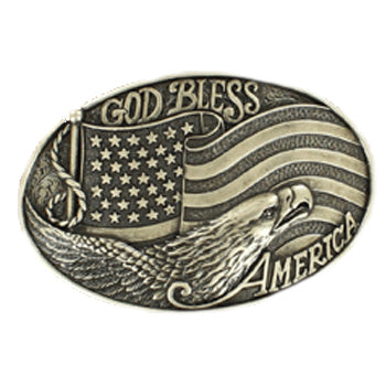 God Bless America Flag and Eagle Buckle