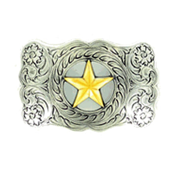 Men's Nocona Silver and Gold Bull Rider and Scroll Buckle