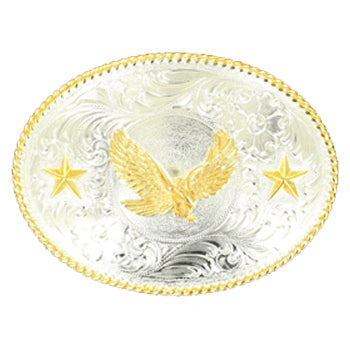 Nocona Men's Gold and Silver Eagle Buckle