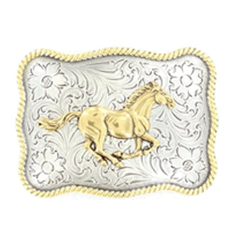 Gold and Silver Running Horse Buckle