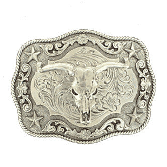 Rectangular Rope Edge Steer Skull Buckle