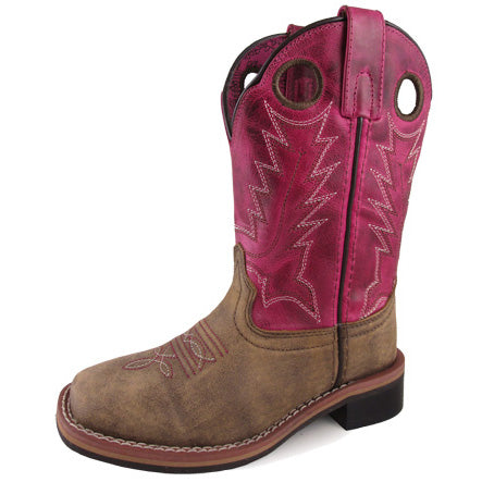 Smoky Mountain Boots Kid's Brown and Dark Pink Square Toe Boot