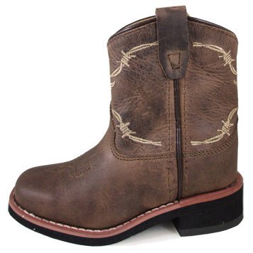 Smoky Mountain Boots Kid Brown and Tan Barbwire Square Toe Boot