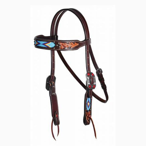 Professional's Choice Blue Beaded Aztec Browband