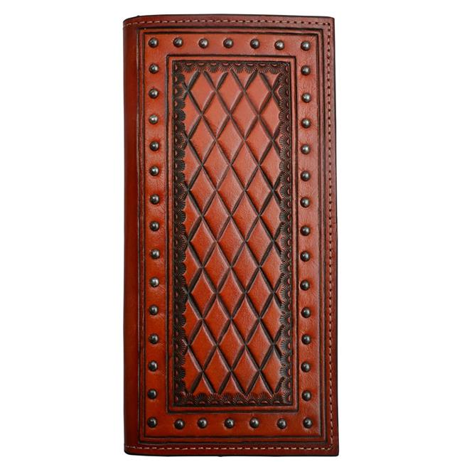 Tan Diamond Tooled Check Book