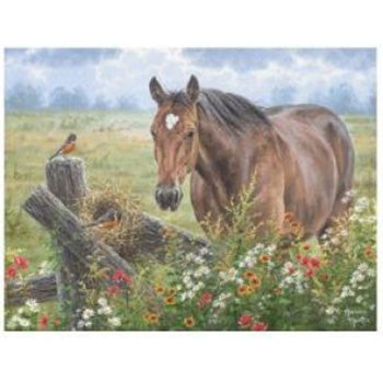 Horse and Pasture Cutting Board