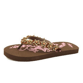Blazin Roxx Brown and Pink Kyler Star Flip Flop