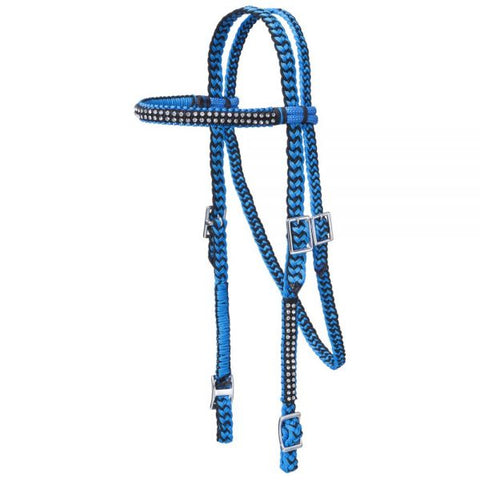 JT Dist. Turq/Black Braided Crystal Headstall