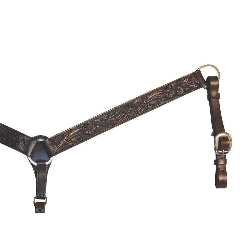 Circle Y Walnut Floral Tooled Breast Collar