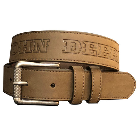 John Deere Kid's Brown Logo with Tractor Embossed Belt