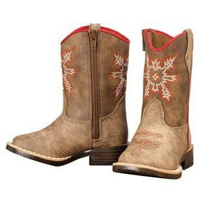 Double Barrel Toddler Brown and Red Aztec Clay Boot