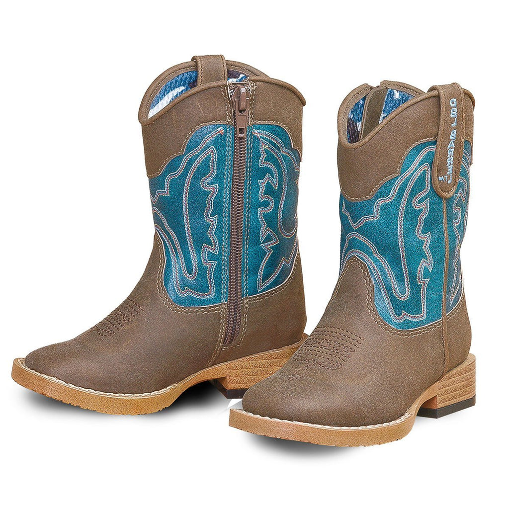 Toddler's Brown and Turquoise Square Toe Boot