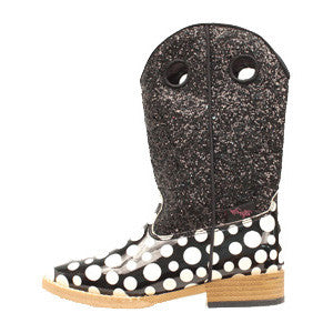 Kid's Pearl Polka Dot Square Toe Boots