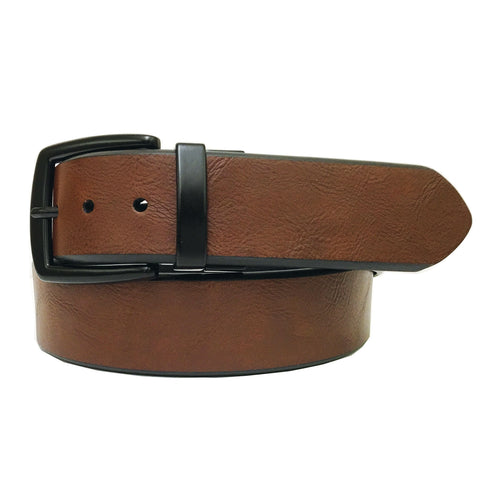 John Deere Men's Tan to Black Reversible Twist Buckle Belt