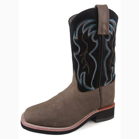 Smoky Mountain Youth Black and Brown Alex Square Toe Boot