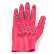 ERS Red Curved Finger Grooming Glove