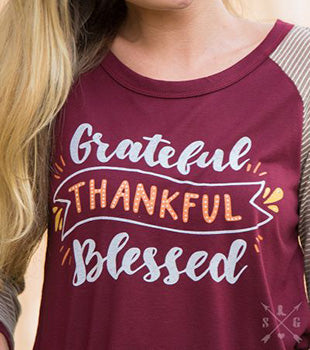 Southern Grace Maroon Grateful B-ball Tee