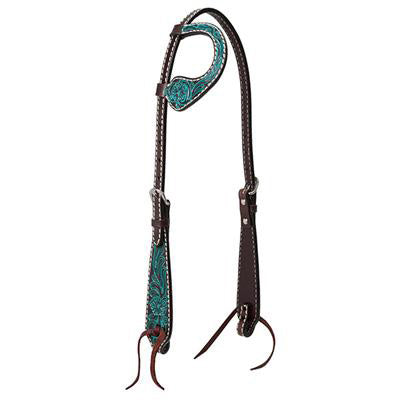 Weaver Leather Turquoise Cross and Floral Sliding Ear Headstall