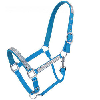 Adjustable Nylon Halter with Crystal Accents - Turquoise