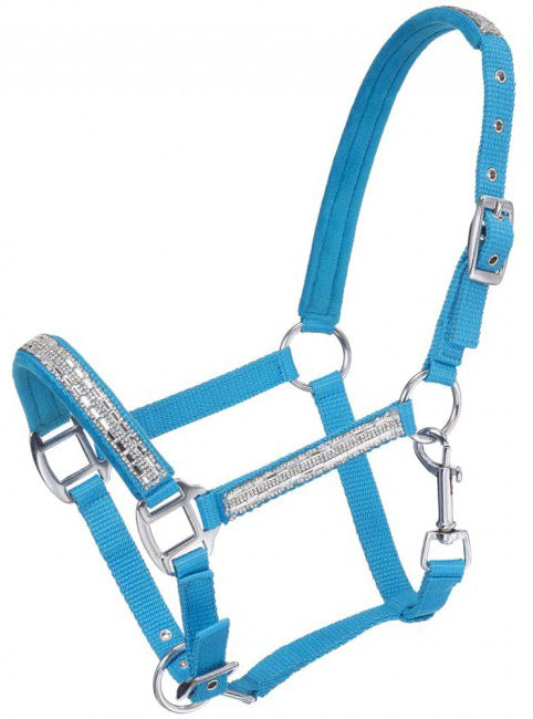 Adjustable Nylon Miniature Halter with Crystal Accents - Turquoise