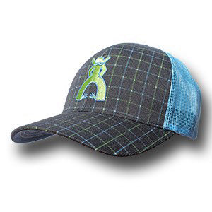 Hooey Navy and Light Blue Grid Punchy Mesh Cap