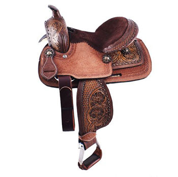 "Double T 10"" Floral Basketweave Pony Saddle"
