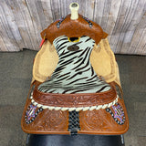 "Shiloh Youth Saddle with Zebra Seat and Horseshoe and Star in the Corners, 13"" seat"
