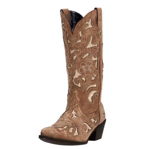 Laredo Women's Tan Inlay Snip Toe Boot