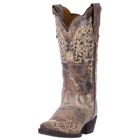 Laredo Women's Cream Embroidered Jasmine Snip Toe Boot