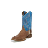 Justin Men's Dark Brown Turquoise Smooth Ostrich Square Toe