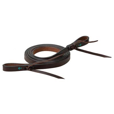 Weaver Leather Dark Oil Turquoise Cross Roping Reins