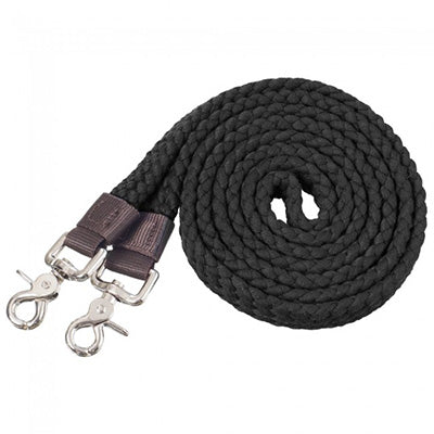 Tough 1 Black Cotton Roping Reins