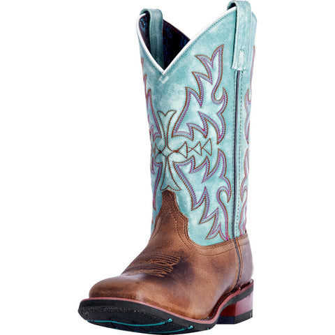 Dan Post Women's Brown and Turquoise Anita Square Toe Boot