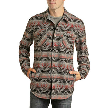 Grey and Coral Aztec Shirt Jacket