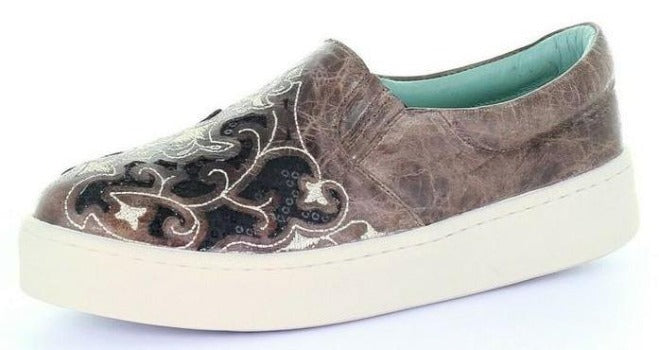 Corral Taupe Floral Embroidered Glitter Inlay Shoe