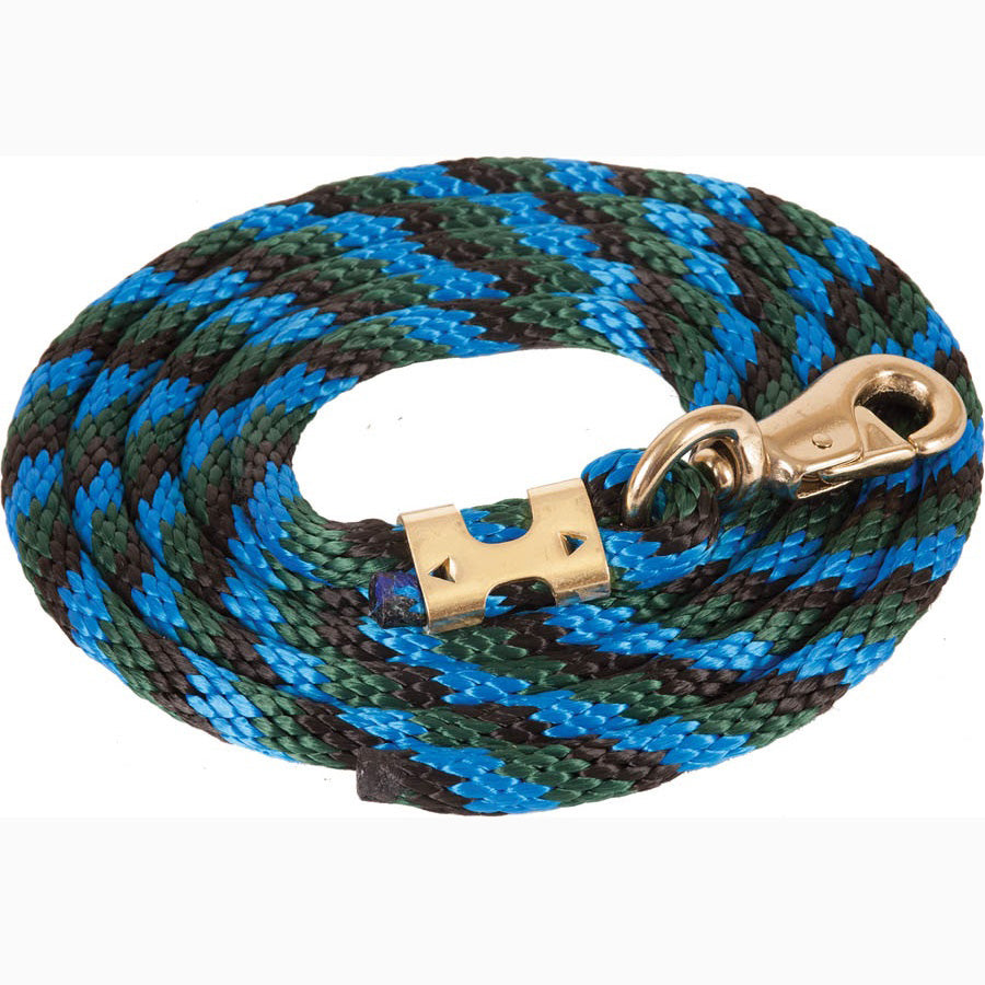 Mustang Black Green and Blue 9' Poly Lead Rope With Bull Snap
