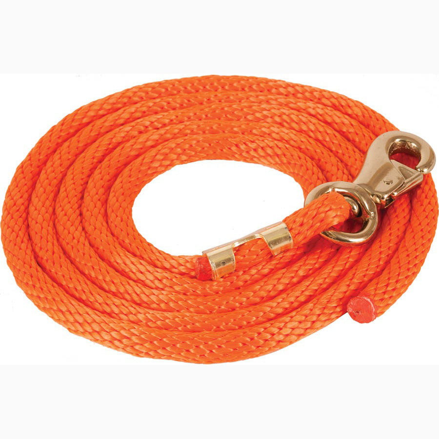 Mustang 9' Orange Poly Lead Rope With Bull Snap
