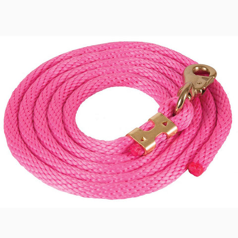 Mustang Pink 9' Poly Lead Rope With Bull Snap