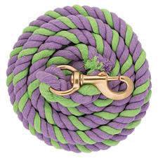 Striped Cotton Lead Rope/ Solid Brass Snap - Lime/Lavender