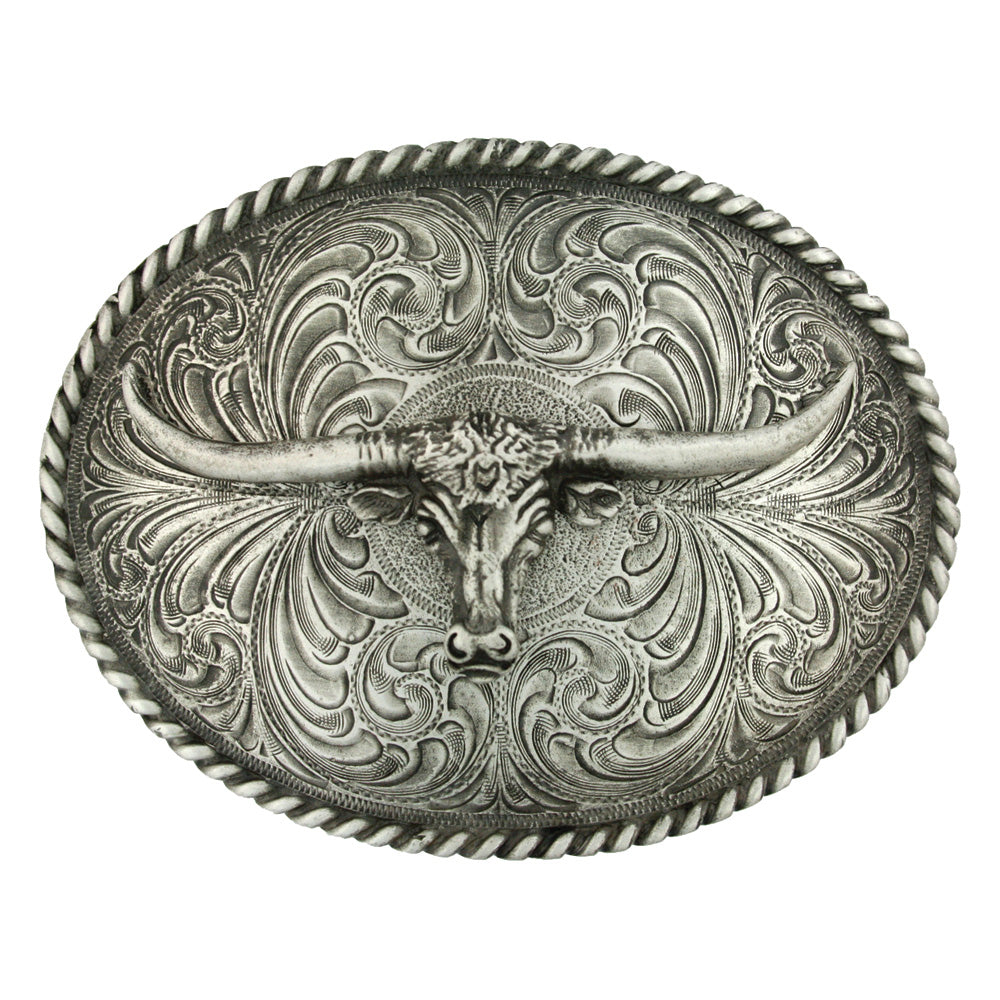 Montana Silver Oval Longhorn Classic Antiqued Belt Buckle