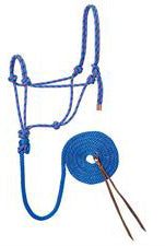 Diamond Braid Reflective Rope Halter and Lead - Blue/Raspberry