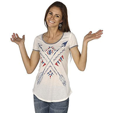 Panhandle Women's White Blue and Red Arrows Tee