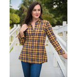Yellow Plaid with Gold Sequin Yoke Long Sleeve