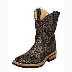 Ferrini Gold Flowers with Black Lace Square Toe Boot