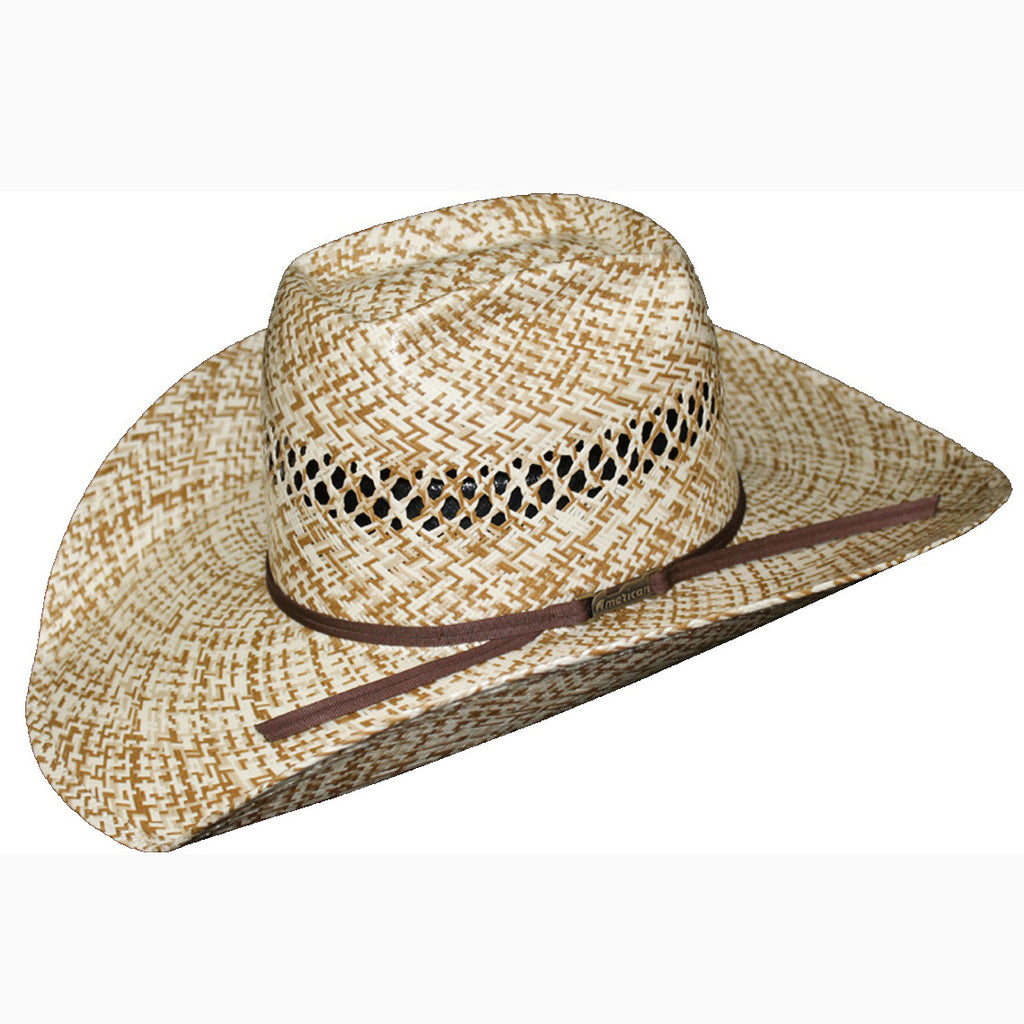 American Hat Co. Brown and Tan Vent Straw Hat